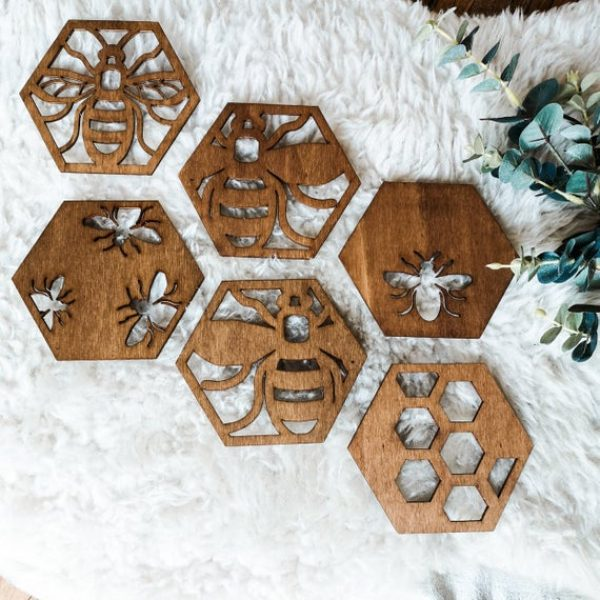 Manchester bee beekeeper gift save the bees Mama bee drink coasters pack / 6 pack
