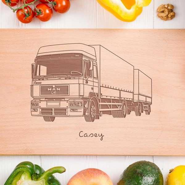 personalised lorry drivers chopping board