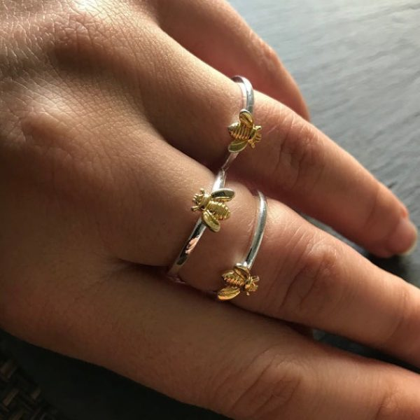 Tiny Gold Bee Silver Ring-Stacking ring - Honey Bee Ring - Two Tone Bee Ring